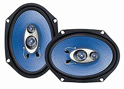 """6"""" x 8"""" Car Sound Speaker (Pair) - Upgraded Blue Poly Injection Cone 3-Way  360 Watts w/ Non-fatiguing Butyl Rubber Surround 70 - 20Khz Frequency"""