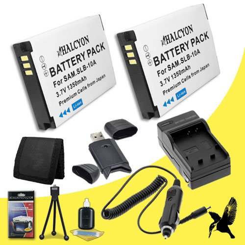 Two Halcyon 1350 mAH Lithium Ion Replacement SLB10A Battery and Charger Kit + Memory Card Wallet + SDHC Card USB Reader + Deluxe Starter Kit for Samsung EX2F Digital Camera and Samsung SLB-10A by Halcyon