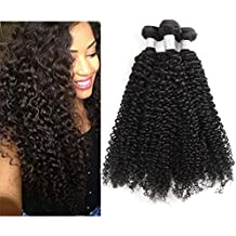 Demao 7A Brazilian Virgin Curly Hair Weave 3 Bundles 100% Unprocessed Jerry Curly Human Hair Extensions Natural Color 95-100g/Bundle (14 16 18inch)