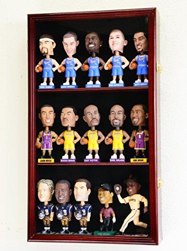 Bobble Head Figurine Display Case Cabinet Holder Wall Rack Bobblehead 98% UV Lockable -Cherry