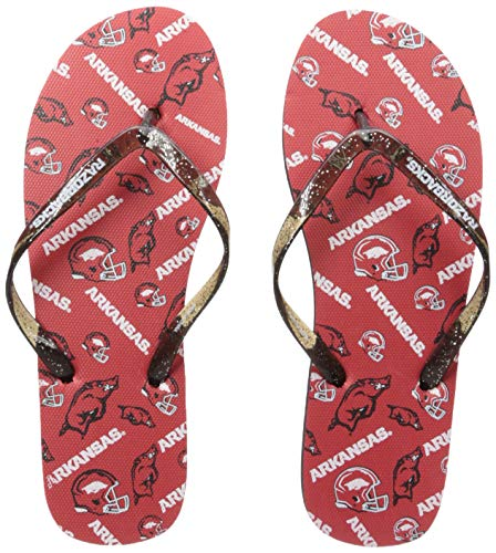(NCAA Arkansas Razorbacks Womens Multi Logo Glitter FLIP FLOPARKANSAS Multi Logo Glitter FLIP Flop - Womens Medium, Team Color, M)