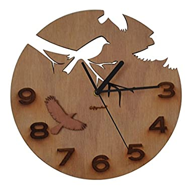 Giftgarden® Wooden Wall Clock with Bird and Flower Design
