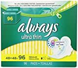 Always HqLelq Ultra Thin Regular Pads With Wings, Unscented, 96 Count (3 Pack)