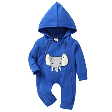 Rompers 2018 Cotton Infant Baby Boy Girl Hooded Romper Zipper Red Blue Elephant Jumpsuit Autumn Winter Clothes Outfits