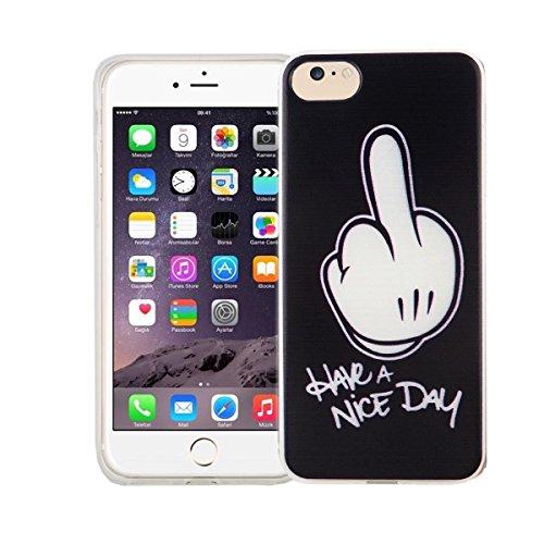 König-Shop Handy Hülle für Apple iPhone 7 Cover Case Schutz Tasche Motiv Slim Bumper TPU + 9H Panzerglas Motiv Have a Nice Day Mittelfinger