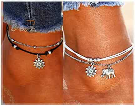 ATIMIGO Boho Beach Layered Rope Anklet Bracelet Handmade Foot Jewelry for Women Teen Girls