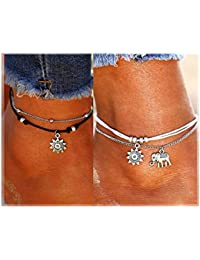 Boho Beach Layered Rope Anklet Bracelet Handmade Foot Jewelry for Women Teen Girls