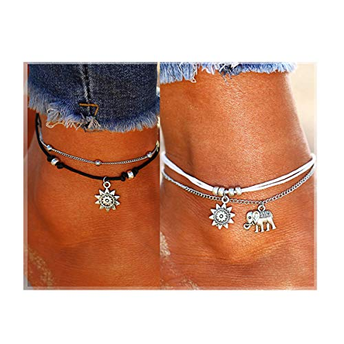 ATIMIGO 2PCS Boho Beach Layered Rope Anklet Bracelet Sunflower Elephant Charm Handmade Foot Jewelry for Women Teen Girls ()