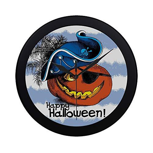 APJDFNKL Modern Simple Halloween Poster Image Spooky Pumpkin Eyes Wall Clock Indoor Non-Ticking Silent Quartz Quiet Sweep Movement Wall Clcok for Office,Bathroom,livingroom Decorative 9.65 Inch ()