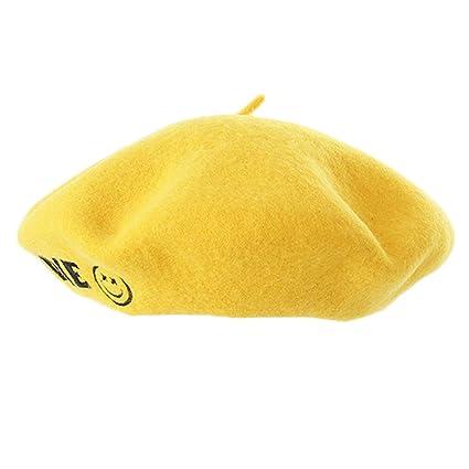 4ccd0224f3191 LMZXH M Boina Amarilla Bordado Crochet Boina Cap Sombrero Femenino ...