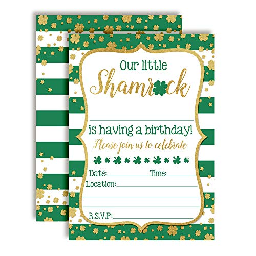 Our Little Shamrock St. Patrick's Day Birthday Party Invitations, 20 5