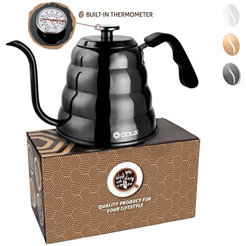 Over Black Water - OPUX Premium Gooseneck Coffee Kettle With Thermometer For Pour Over | 40 fl oz | Stainless Steel Drip Kettle with Ergonomic Handle for Home Brewing, Tea (Glossy Black, Solid Top)