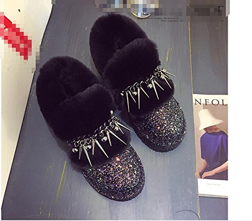 and BLACK States fashion the NSXZ sequins new tassels Plus United rivets the 7660CM women shoes cotton velvet Europe warm snow boots HBOHqwFv