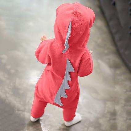 GzxtLTX Baby Girls Boys Dinosaur Back Spine Hoodie Romper Zip Clothes Jumpsuit