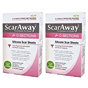 ScarAway C-Section Scar Treatment Strips, Silicone Adhesive Soft Fabric 4-Sheets, 7 X 1.5 Inch, Total 8 Count (Pack of 2)