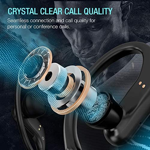 ZVOLTZ Pro Wireless Earbuds Sport Running Ear Hooks Bluetooth Earphone 5.0 in-Ear Wireless Headphones IPX5 Sweat Resistance w/Mic & Charging Case, Built-in Battery Pack for Workout Gym Sport, Black