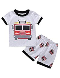 POBIDOBY Little Boy Clothing Set Toddler 2 PCS Short Set Cartoon Print T-Shirt and Shorts