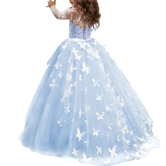 Obeeii Vestido De Niñas Boda Fiesta De Princesa Encaje Floral De Manga Larga Elegantes Vestidos De Noche Comunión Ceremonia Gala Pageant Cóctel Prom