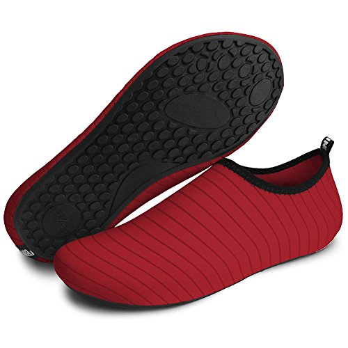 Barerun Barfuß Quick-Dry Wasser Sportschuhe Aqua Socken für Schwimmen Beach Pool Surf Yoga für Frauen Männer Reines Rot