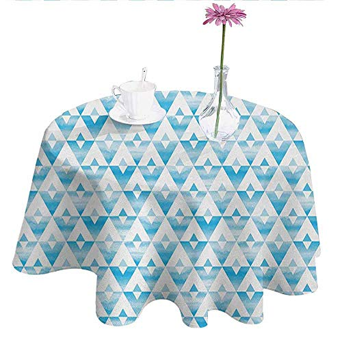 Modern Printed Tablecloth Geometric Contemporary Shapes Triangle Line with Clear Cloud Backdrop Image Desktop Protection pad D55 Inch Light and Baby Blue ()