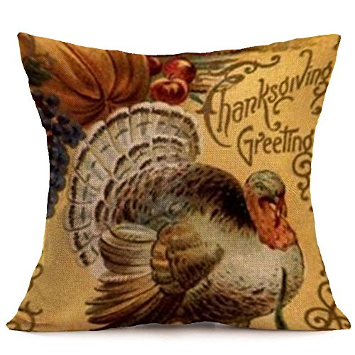 Thanksgiving Gift Give Thanks Cotton Linen Square Throw Pillow Cover Decorative Cushion Case Pillowcase 18