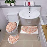 iPrint Bath mat Set Round-Shaped Toilet Mat Area Rug Toilet Lid Covers 3PCS,Peach,Valentines Day Inspired Heart Shaped Blooming Roses Bouquet with Romantic Design Decorative,Salmon Peach,Customized