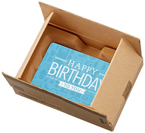 Amazon.com Gift Card in a Mini Amazon Shipping Box (Birthday Icons Card Design)