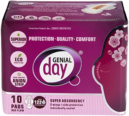 GENIAL DAY Super Absorbent Regular Flow Pads 10 Piece, 0.02 Pound