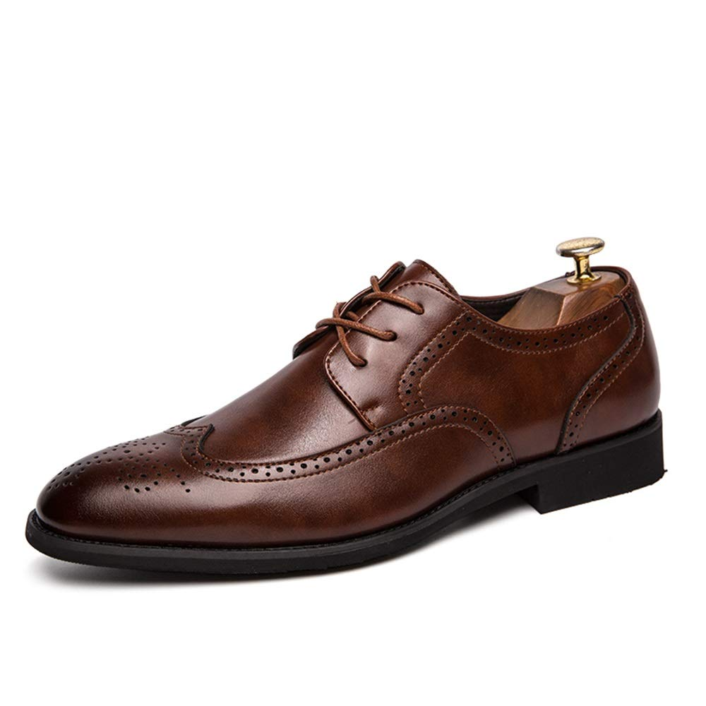 Hilotu Men's Brogue Shoes Casual Lace-up Dress Shoes Leather Pointed Toe Lightweight Durable Wingtip Oxfords (Color : Brown, Size : 10.5 M US) by Hilotu
