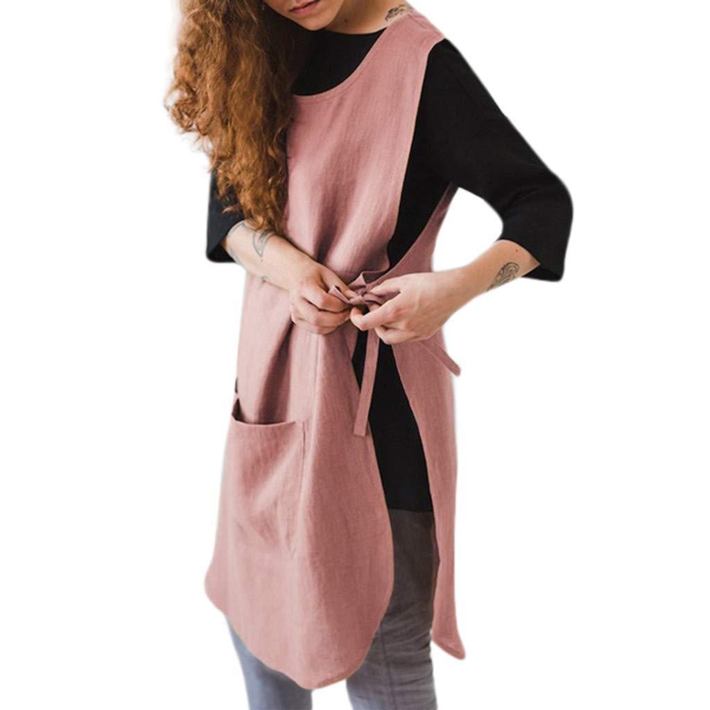 Vestido De Lino sin Mangas con Bolsillo y Delantal Vestido Mujer Camiseta Algod/óN Casual Tallas Grandes con Peto de Lino y Algod/ón Xinantime Vestido De Mujer