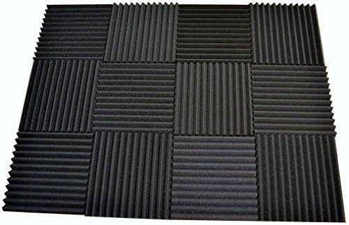 12 Pack - Acoustic Panels Studio Soundproofing Foam Wedge tiles 1''x12''x12'' 100% Made in USA by FoamEngineering