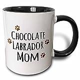 3dRose 3dRose Chocolate Labrador Dog Mom - Doggie by breed - Lab brown muddy paw prints - doggy lover - pet owner - Two Tone Black Mug, 11oz (mug_154147_4), , Black/White