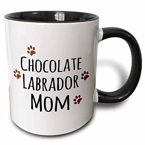3dRose (mug_154147_4) Chocolate Labrador Dog Mom - Doggie by breed - Lab brown muddy paw prints - doggy lover - pet owner - Two Tone Black Mug, 11oz (Chocolate Labs)