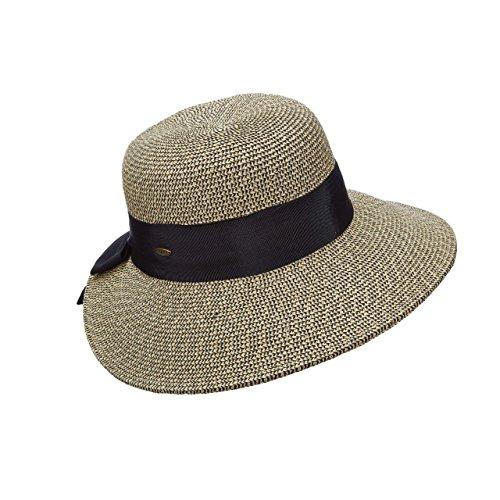 - Scala Collezione New Paper Braid Dimensional Brim Grosgrain Bow Sun Hat UPF 50+ (Wheat)