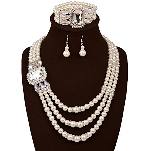 IYOCHO Three Layer Pearl Diamond Collar Necklace Earrings Set (Earrings And Bracelet Set)