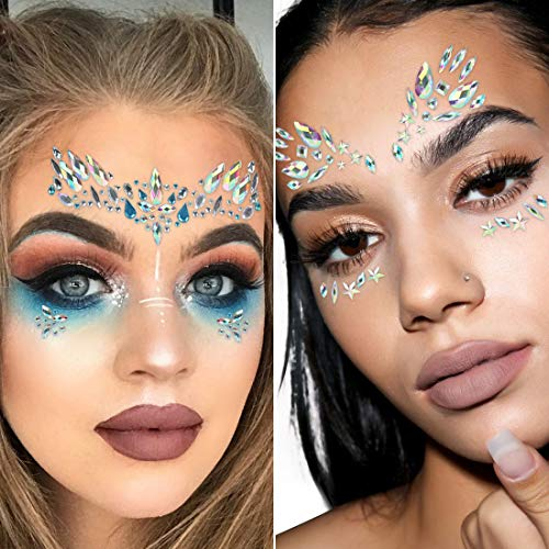 SHINEYES 8 Pcs Music Festival Face Jewels, Rhinestone Rave Face Gems Glitter,Crystal Birthday Party Festival Face Sticker, Eyes Face Body Temporary Tattoos for Festival Party