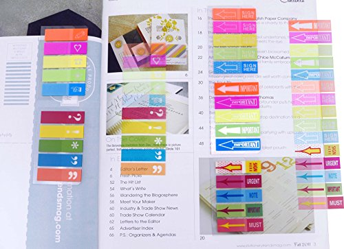 4A Sticky Notes Flags Set,Neon Color Index Label, Transparent Tabs Flags Stickers, Text Highlighter Strips Writable Labels Page Marker Bookmarks,Assorted Printed,5 Pads/set,4A 66114