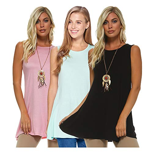 - Isaac Liev 3 Pack Women's Sleeveless Basics Tunic - Round Neck Swing Flowy Long Tank Tops (X-Large, Rose, Black & Pastel Mint)