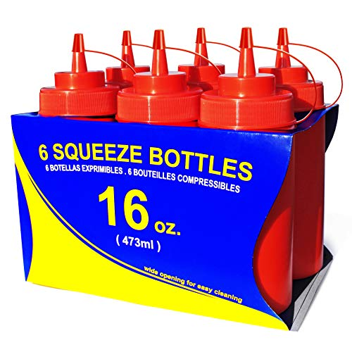 Wide Ketchup Mouth - New Star Foodservice 26344 Squeeze Bottles, Plastic, Wide Mouth, 16 oz, Red, Pack of 6