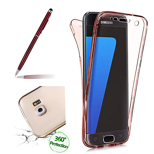 Fullscreen Box (Clear Case For Samsung Galaxy S6 Edge, Girlyard Front and Back Complete TPU Silicone Gel Case Cover, Full Screen Coverage Protector Case Cover For Samsung Galaxy S6 Edge-- Orange Red)
