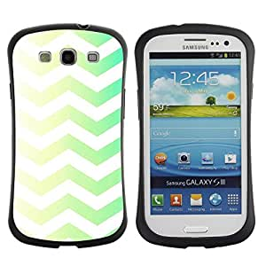 Hypernova Slim Fit Dual Barniz Protector Caso Case Funda Para SAMSUNG Galaxy S3 III / i9300 / i747 [Vert Jaune Chevron Motif White Rasé]