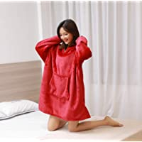 Huggle Hoodie,Ultra Plush Blanket Hoodie Winter Soft Warm Reversible Hooded Robe Pullover One Size Fit All for Adults & Children,Red