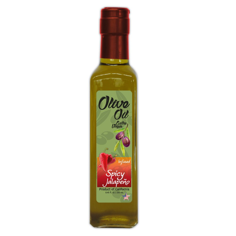 Fresh Jalapeño Extra Virgin Olive Oil - Cold Press - California's Super Fresh Farm to Table - Crop Year: Late 2017/Early 2018-8.45 fl oz - Quadra Glass Bottle -T Cap Cork - Vegan - NON GMO by The Gallery Market (Image #3)