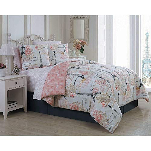 6Pc Novelty French Country Shabby Chic Bedding Sets Twin Graphic Print Quotes Sayings Amour Paris Theme Blush Pink Girl Comforter Set Glam Charm Flowers Butterflies Rose Eifel Tower Vintage Reversible