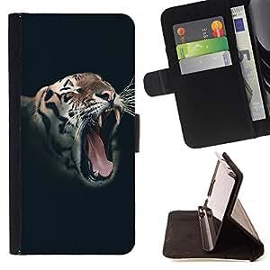 BullDog Case - FOR/Sony Xperia m55w Z3 Compact Mini / - / roar tiger wild vignette animal stripes /- Monedero de cuero de la PU Llevar cubierta de la caja con el ID Credit Card Slots Flip funda de cuer