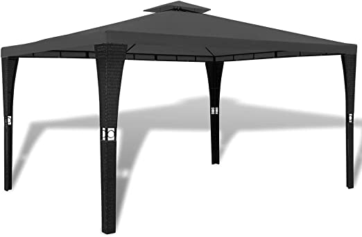 Xinglieu cenador de polirratán con Techo Gris Oscuro 3 x 4 m Gazebo Plegable cenador de jardín: Amazon.es: Jardín