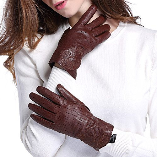 InlnDtor Leather Gloves Flower Pattern