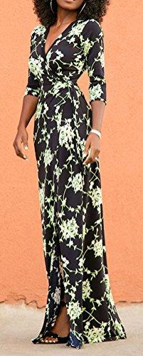 Blansdi Damen Elegant Sommerkleid 1/2 Ärmel V-Ausschnitt Schlank Strandkleid Maxi Cocktailkleid Blumenmuster Lang Ballkleid Festlich Partykleid Schwarz 65vcj1I