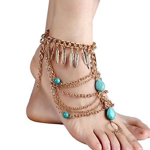 Gypsy Outfits (SUNSCSC Anklets Boho Vintage Link Toe Ring Leaf Turquoise Blessing Symbol Tassel Indian Foot Jewelry Set Pack of 2 PCS (Golden))