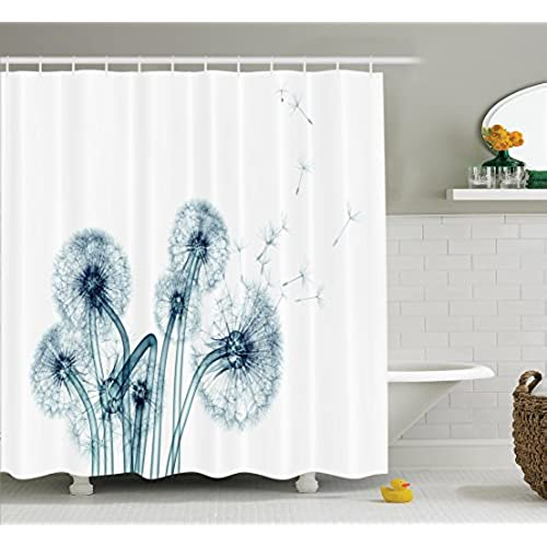 Unusual Image Of Dandelions On Simple Background Uv Style Negative Nature Art Polyester Fabric Bathroom Shower Curtain 75 Inches Long Teal White
